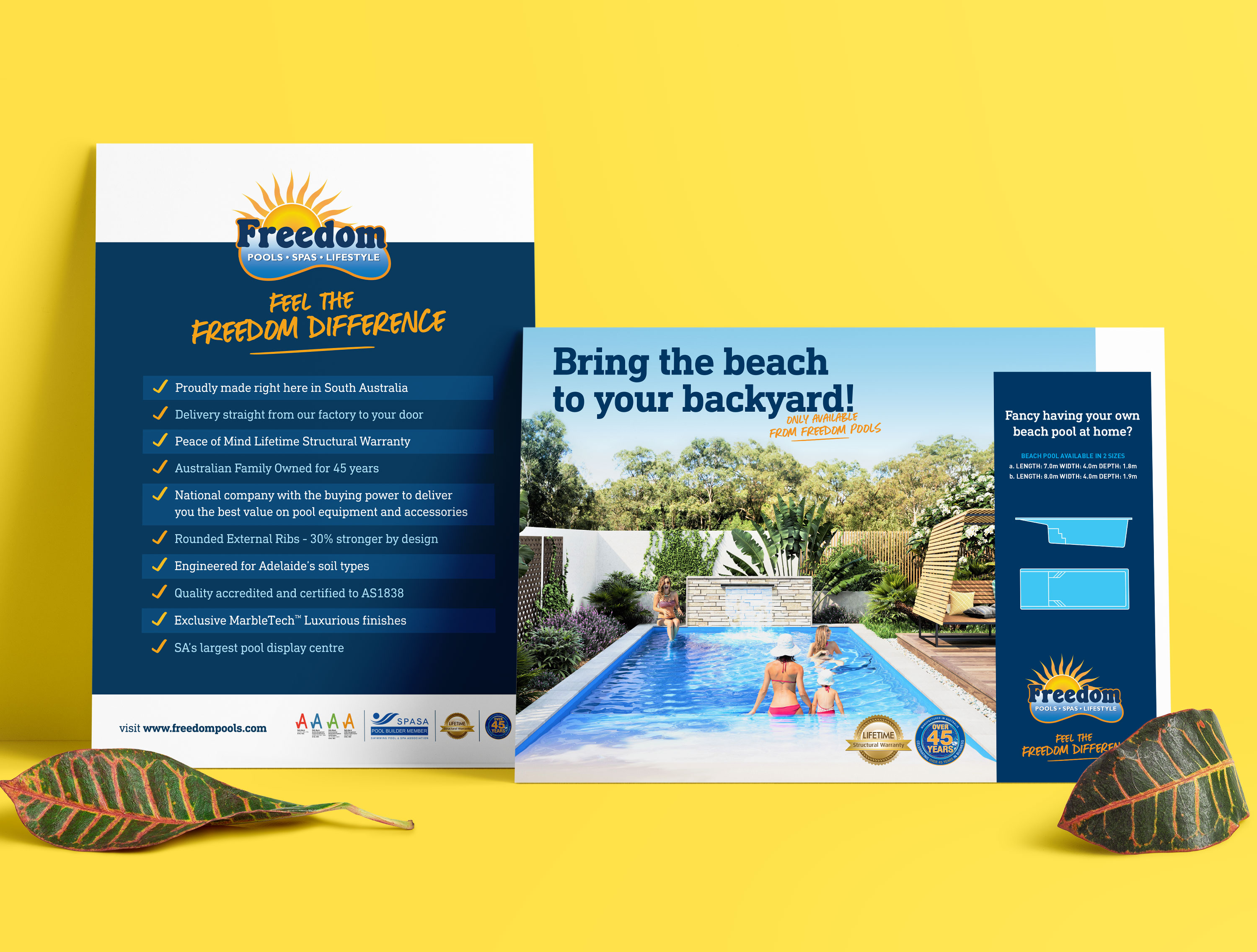 Freedom Pools Brochure Design