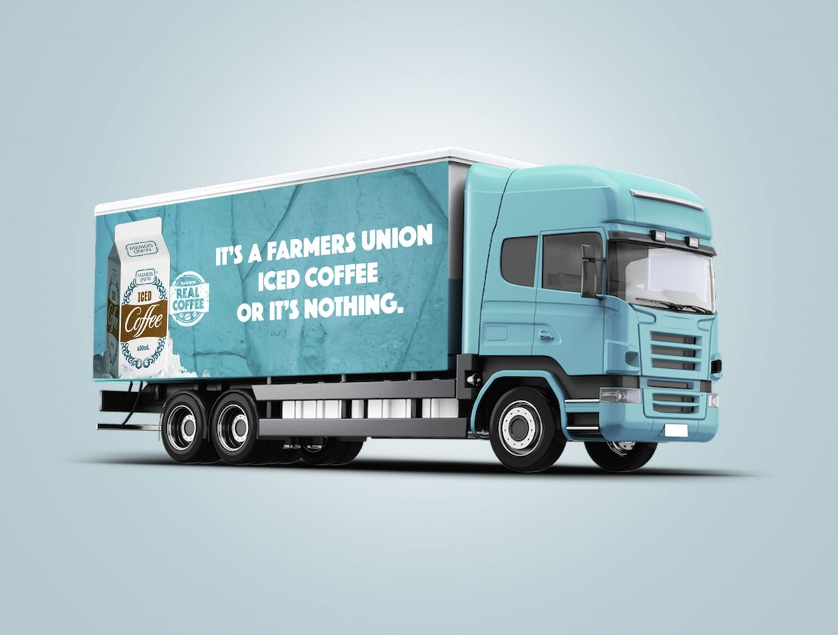 Farmers Union Iced Coffee Truck Curtain Sign