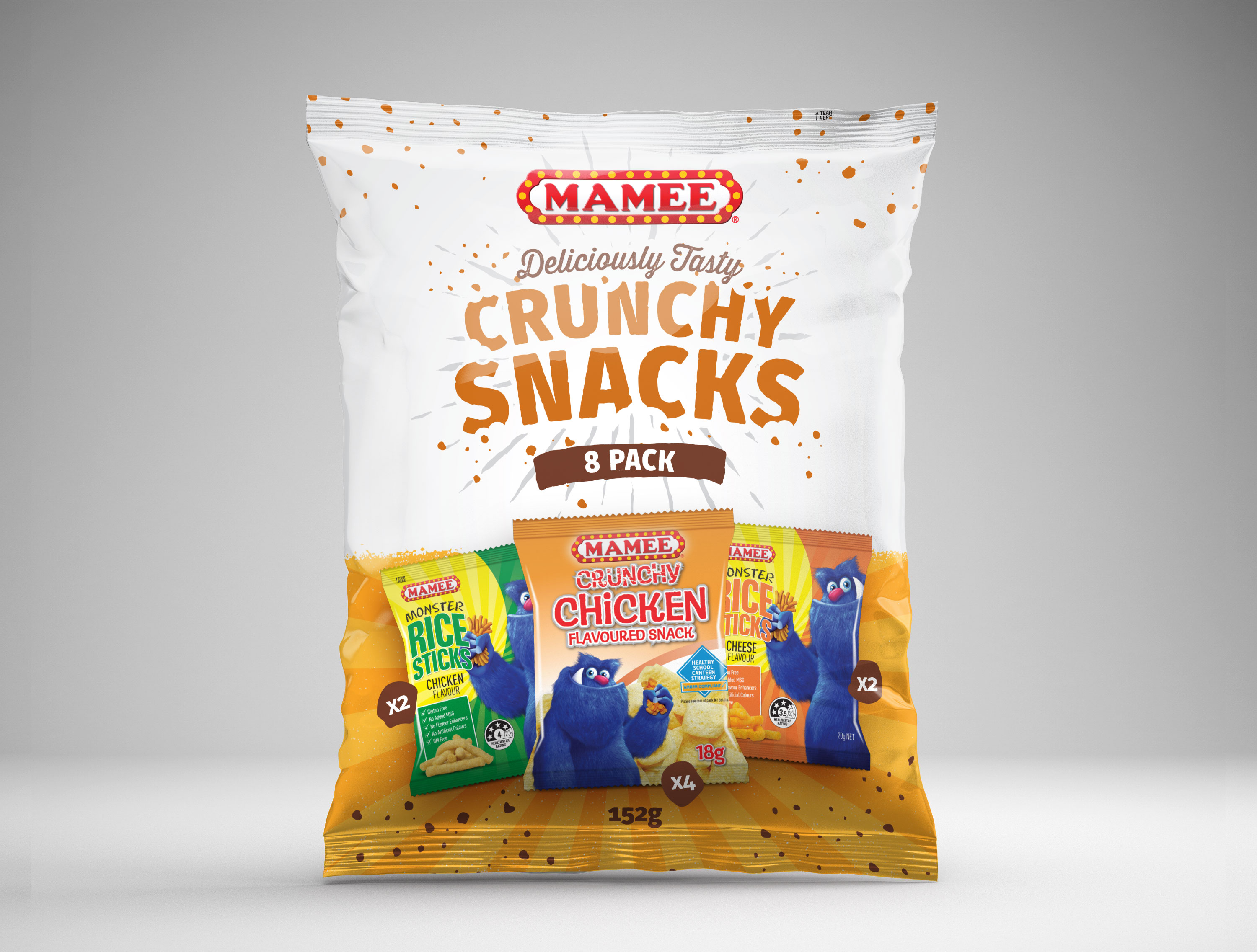 Mamee Crucnhy Snacks Packaging Design