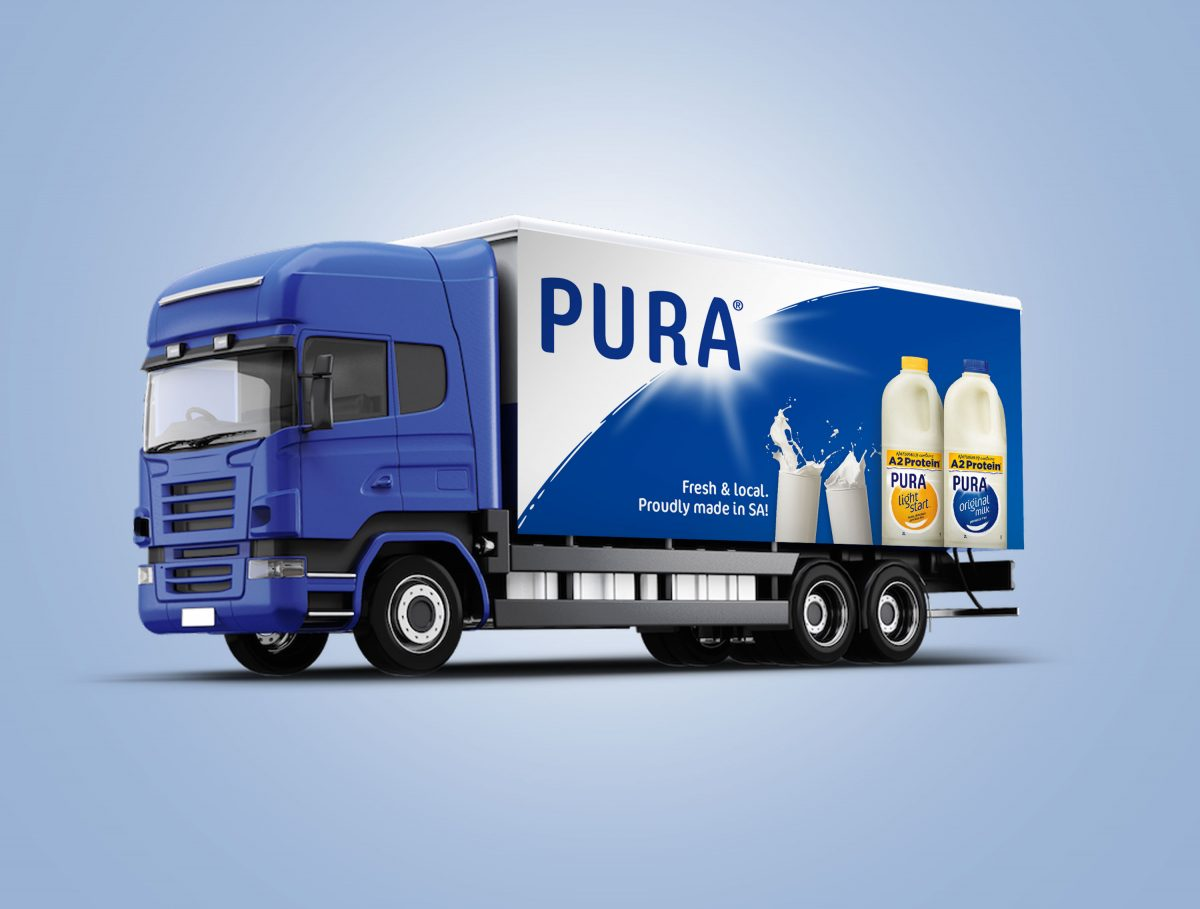 PURA Milk Truck Curtain Sign