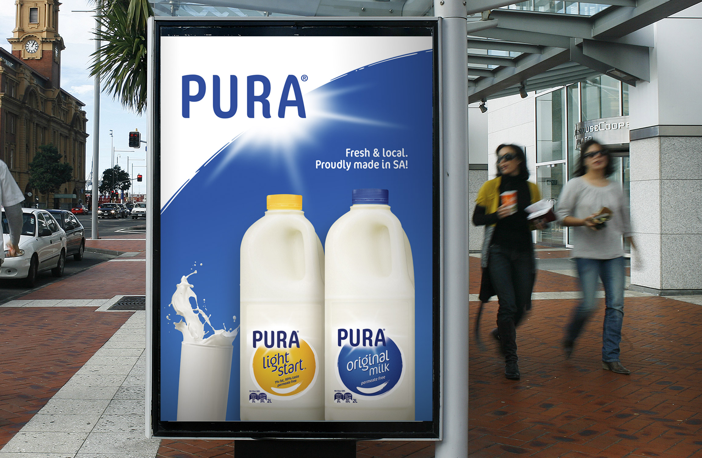 Pura Milk Outdoor Bus Stop Sign